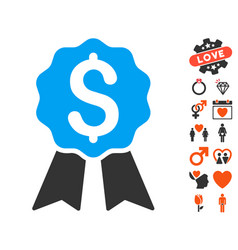 Banking award icon with love bonus vector