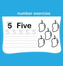 number exercise with cartoon coloring book vector image