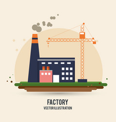 Plant crane building chimney factory industry icon vector