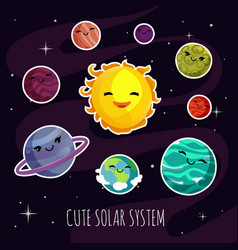 Cute and funny cartoon planets stickers of solar vector
