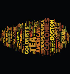 The boston tea party text background word cloud vector