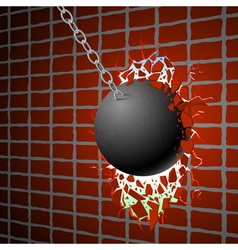 Wrecking ball red wall vector