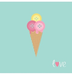Ice cream with buttons Love card Flat design vector image