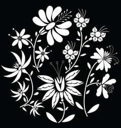 White floral folk pattern in circle shape vector