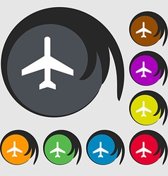 Airplane icon sign symbol on eight colored buttons vector