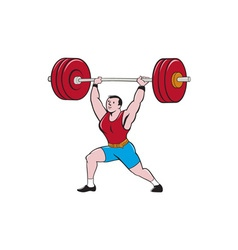 Weightlifter lifting barbell isolated cartoon vector