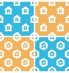 House pattern set colored vector