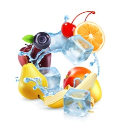 Multifruit with ice cubes and water splash icon vector