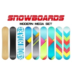 Set of snowboards sample symbols vector
