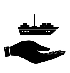 Ship in hand icon vector