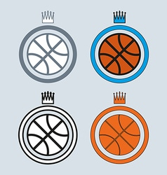 Basketball balls icons with crowns vector