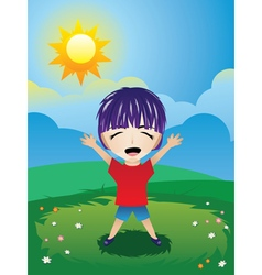 Boy on lawn vector