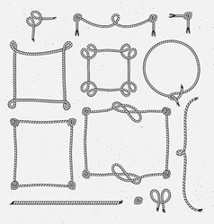 Set of Hipster Vintage Stylized Rope Frames vector image