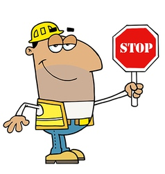 Male hispanic traffic director holding a stop sign vector