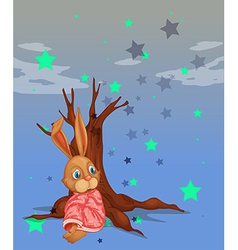 A bunny beside a big tree without leaves vector