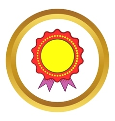 Award rosette with violet ribbon icon vector