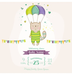 Baby shower or arrival card - baby cat flying vector