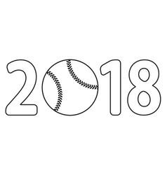 baseball 2018 lettering vector image vector image