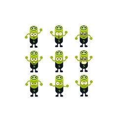 Battery emoji character set vector