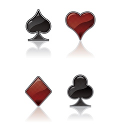 black and red card suit icons vector image vector image