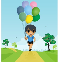 Child holding balloons vector