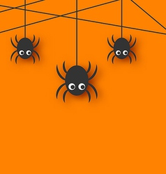 Cute funny spiders and cobweb vector