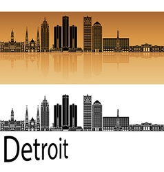 Detroit skyline in orange vector