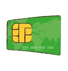 Drawing green credit card global bank vector