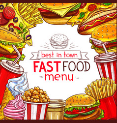 Fast food menu for fastfood restaurant vector