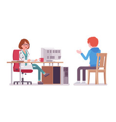 Female doctor therapist consulting patient vector
