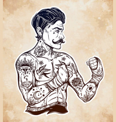 Flash tattoo boxer fighter player vintage style vector