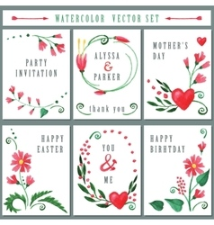 Floral card set with watercolor red flowers vector