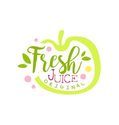 fresh juice original logo template apple juice vector image
