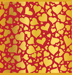 Golden red hearts seamless pattern design vector