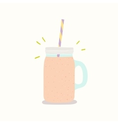 Hand drawn smoothie jar with handle vector