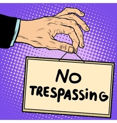 Hand sign no trespassing vector image vector image