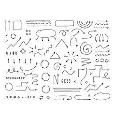 Handcrafted elements hand drawn arrows set on vector