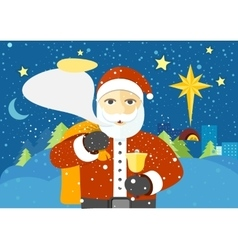 Happy santa claus with speech bubble for text vector