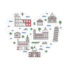 i love italy poster in linear style vector image