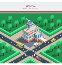 Isometric city constructor with hospital building vector