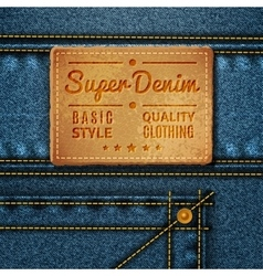 Jeans leather square tag vector