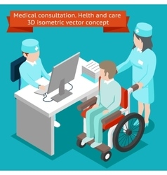 Medical consultation Health and care 3D isometric vector image vector image