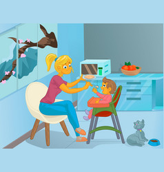 Nanny in the kitchen is feeding the child vector