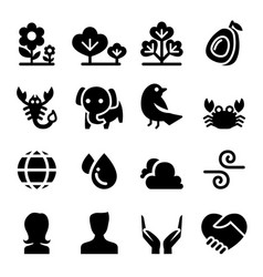 nature life icon set vector image