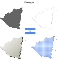 Nicaragua outline map set vector image vector image