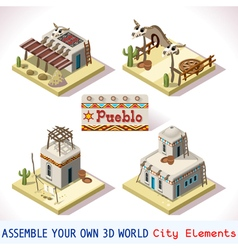 Pueblo tiles 01 set isometric vector
