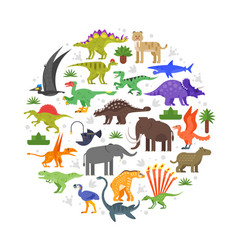 Round composition of prehistoric animals icons vector