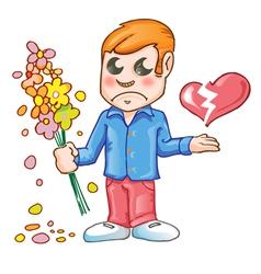 Sad for love cartoon vector image vector image