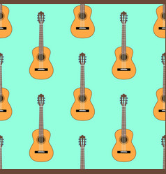 seamless classical acoustic guitar pattern on vector image vector image