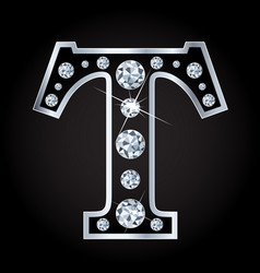 shiny diamond letter isolated on black vector image vector image